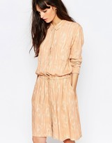 Just Female Lumina Print Shirt Dress in Peach
