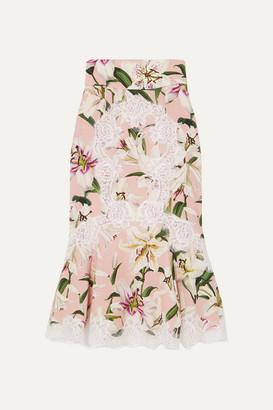 Dolce & Gabbana Ruffled Lace-trimmed Floral-print Silk-blend Midi Skirt - Pink