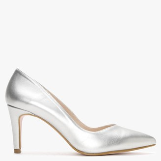 Laceys Damara New Silver Leather Court Shoes