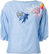 Blumarine embroidered patches top - women - Silk/Cotton - 38