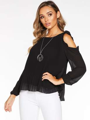 Quiz Cold ShoulderLong Sleeve Pleated Top with Necklace - Black