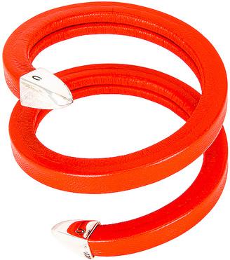 Bottega Veneta Leather Snake Bracelet in Orange | FWRD