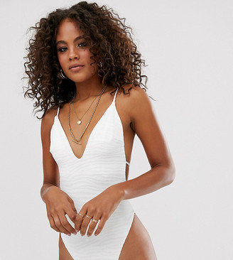 Asos Tall ASOS DESIGN tall skinny tie strap back swimsuit in textured in white