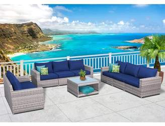 Kordell Olefin 9 Piece Rattan Sofa Seating Group with Cushions Sol 72 Outdoor Cushion Color: Navy Blue
