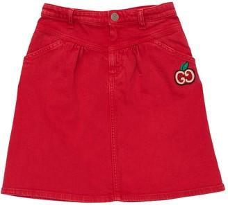 Gucci Stretch Cotton Skirt W/ Logo Patch