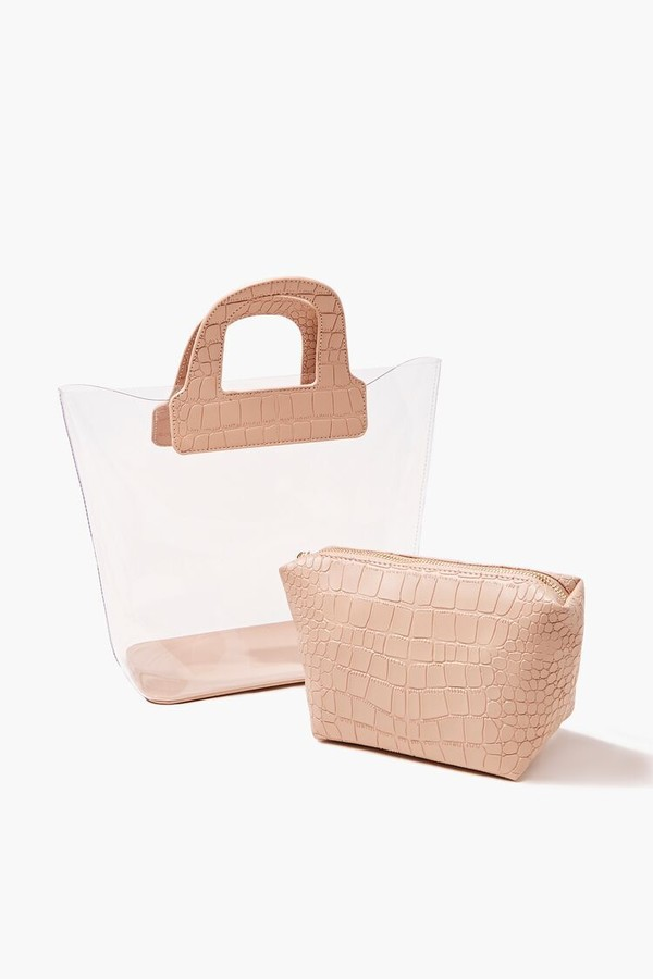 Thumbnail for your product : Forever 21 Transparent Faux Croc Leather Tote Bag