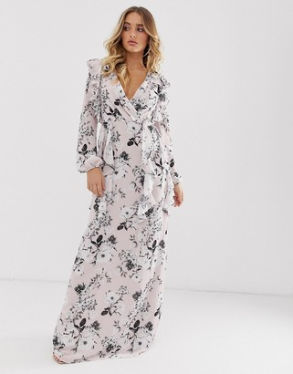 TFNC floral long sleeve v neck maxi dress