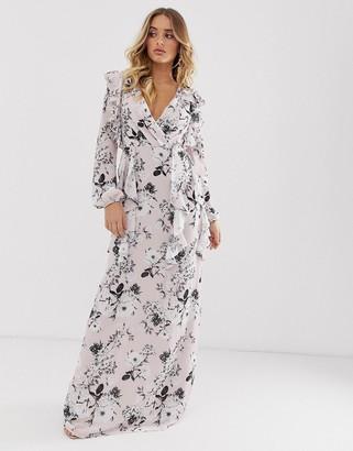 TFNC floral long sleeve v neck maxi dress-Multi