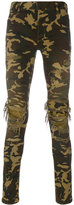 Balmain distressed camouflage trousers - men - Cotton/Polyurethane - 31