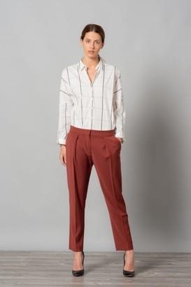 Etiem - White Cotton Shirt - MEDIUM - White/Grey/Pink