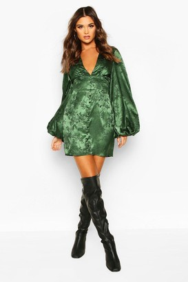 boohoo Jaquard Satin Plunge Extreme Blouson Sleeve Mini Dress