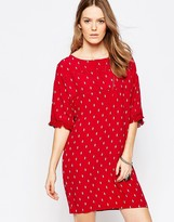 Pepe Jeans Kary Diamond Print Dress with Frayed Sleeve Detail