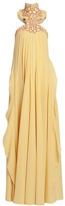 Chloé Lace High-Neck Silk Georgette Gown