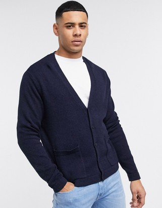 ASOS DESIGN knitted textured boxy button cardigan in navy