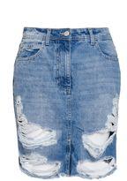 Quiz Blue Ripped Denim Skirt