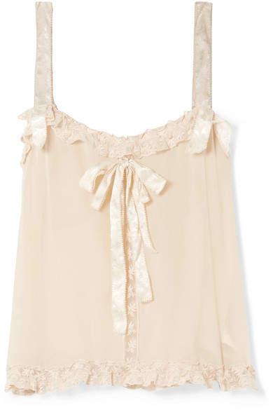 LoveShackFancy Margot Embroidered Tulle-trimmed Silk-georgette Camisole - Beige