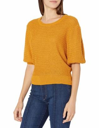 ASTR the Label Women's Short Puff Sleeve CORA HIGH Neck Crop Sweater