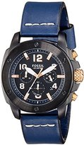 Fossil Men's FS5066 Modern Machine Black Stainless Steel Watch with Blue Leather Band