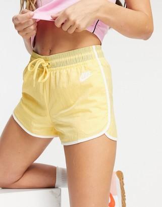 Nike woven shorts in lemon