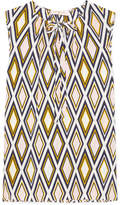 Tory Burch Jess Pussy-bow Printed Silk Crepe De Chine Top - Beige