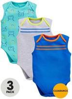 Ladybird Baby Boys 3pk Bug And Stripe Sleeveless Bodysuits