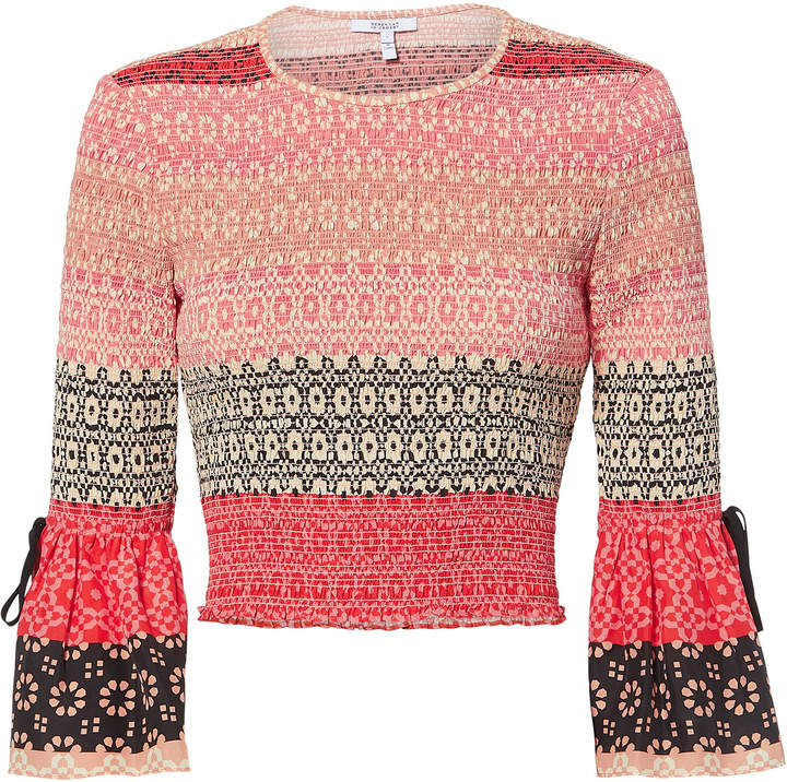 Derek Lam 10 Crosby Smocked Bell Sleeve Crop Top