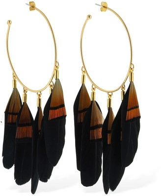 Mercedes Salazar Chaman Feather Big Hoop Earrings