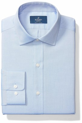 """Buttoned Down Classic Fit Solid Pocket Options Dress Shirt Blue) 18.5"""" Neck 35"""" Sleeve"""