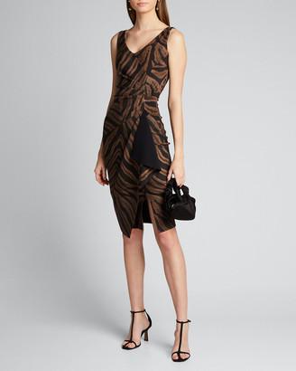 Chiara Boni Zebra Striped V-Neck Sleeveless Asymmetric Drape Dress