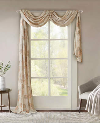 """Madison Home USA Arella 42"""" x 216"""" Floral-Print Crushed Sheer Scarf Valance"""