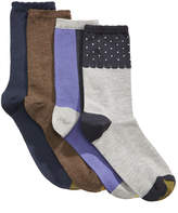 Gold Toe Women's 4-Pk. Dot Border and Colorblocked Crew Socks