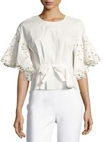 Natori Ruffled Short-Sleeve Top w/ Embroidery, White