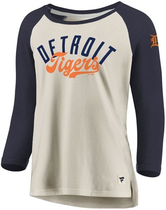 Women's Fanatics Branded White/Navy Detroit Tigers Heritage Open Raglan Tri-Blend 3/4-Sleeve T-Shirt