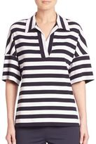 Lafayette 148 New York Striped Popover Top