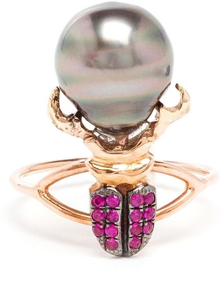 Daniela Villegas Ruby And Pearl Beetle Ring