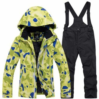 UJDKCF Children Kids Ski Snow Suit Waterproof Jacket Pants Sports Wear Set Outfit Green 6T
