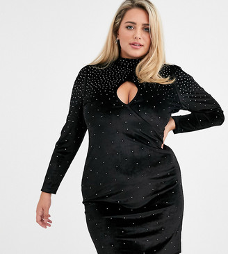 Fashion Union Plus velvet high neck mini dress with scattered rhinestone detail-Black