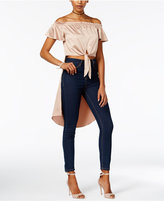 Material Girl Juniors' Satin Off-The-Shoulder High-Low Top, Only at Macy's