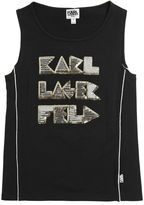 Karl Lagerfeld Sequins Embroidered Cotton Jersey Tank