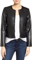 Cole Haan Women's Woven Front Leather Jacket
