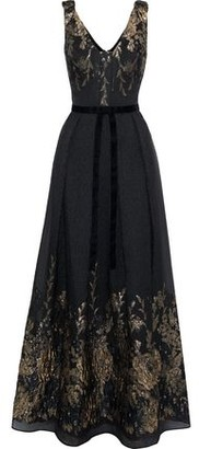 Marchesa Pleated Bow-embellished Metallic Fil Coupe Cloque Gown