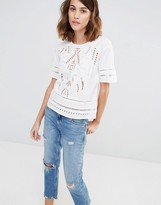 Warehouse Cutwork Embroidered Top