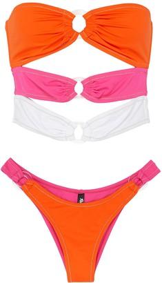 Reina Olga 'Cage' three tone ring embellished bikini set