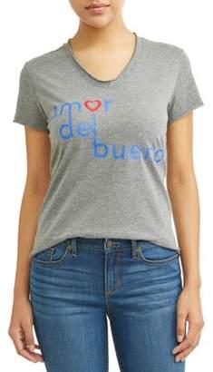 Sofia Jeans By Sofia Vergara Amor Del Bueno Short Sleeve V-Neck Graphic T-Shirt Women's