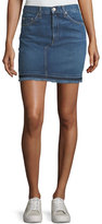 Rag & Bone Dive Pencil Denim Mini Skirt w/ Fringed Hem