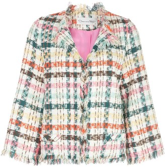 Oscar de la Renta Fringed Tweed Jacket