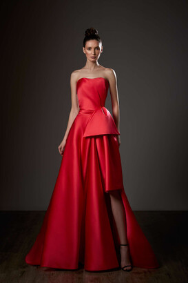 Ziad Germanos Sweetheart Neck Draped A-Line Slit Gown