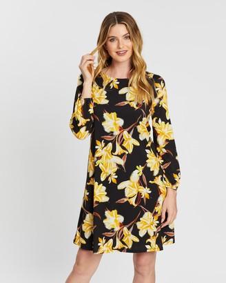 Wallis Golden Floral Jersey Swing Dress