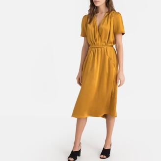 Suncoo Wrapover Midi Dress with Tie-Waist