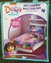 DORA THE EXPLORER, Toddler Bedding Set, 4PC, NEW, Pink, Crib, Bed Set